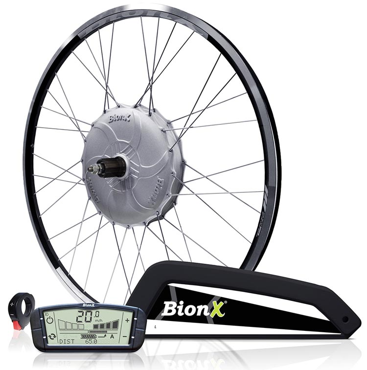 The BionX electric bike kit consists of a handlebar-mounted console, an electric motor in the hub of the rear wheel (hub motor), and a lithium ion battery that can be easily removed for charging. BionX Electric Bike Kit Review
