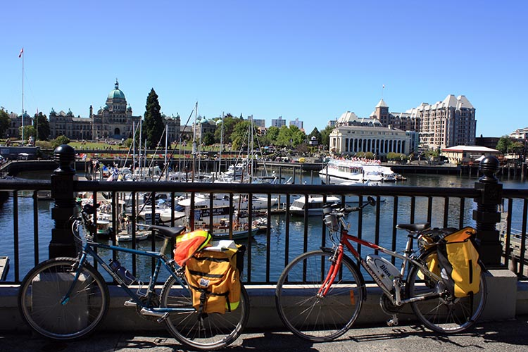 A great benefit of electric bikes is that couples with varying cycling skills can do bike tours together. Here's a photo from a tour Maggie and I did on Vancouver Island - one of us used a regular bike, and one of used a Devinci Rio with a BionX assist. BionX Electric Bike Kit Review