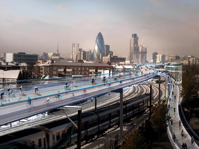 In London, architect Norman Foster has unveiled the concept for an urban cyclist's dream: a car-free stretch of elevated highway made especially for biking. The SkyCycle, which you would pay to access with the city's Oyster farecard, is designed to span more than 130 miles running above suburban rail lines throughout the city. Photograph Courtesy of Foster + Partners, from this web page. Electric bikes