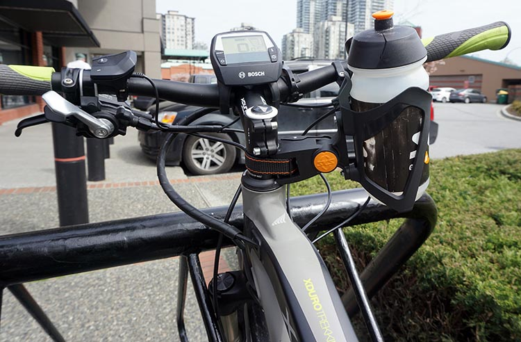 Haibike Xduro Trekking Pro Review. The SKS Bottle Cage fits perfectly on the Haibike Xduro Trekking Pro.