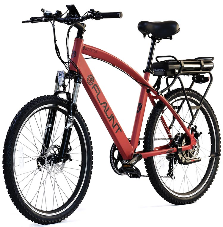 "This is FLAUNT Electric Bicycles's Atticus model. The frame measurements on the Atticus are approximately 1"" greater than those of the Vicko (height and length)."