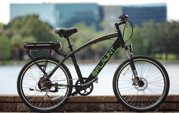 The stylish looking, brand new FLAUNT ebike. FLAUNT Electric Bicycles offer over 20 features. But most importantly, they actually look like traditional bikes, travel over 40 miles on a single charge, are powered by a reliable and safe Samsung Lithium-ion battery pack, and are made of exceptionally high quality components – yet still cost less than $2k!