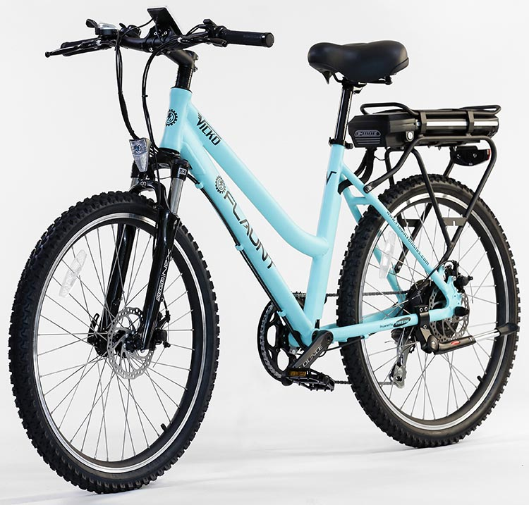 This is FLAUNT Electric Bicycles's Vicko model. It features hybrid tires, plus a slightly rounded, city-cruiser style handlebar.