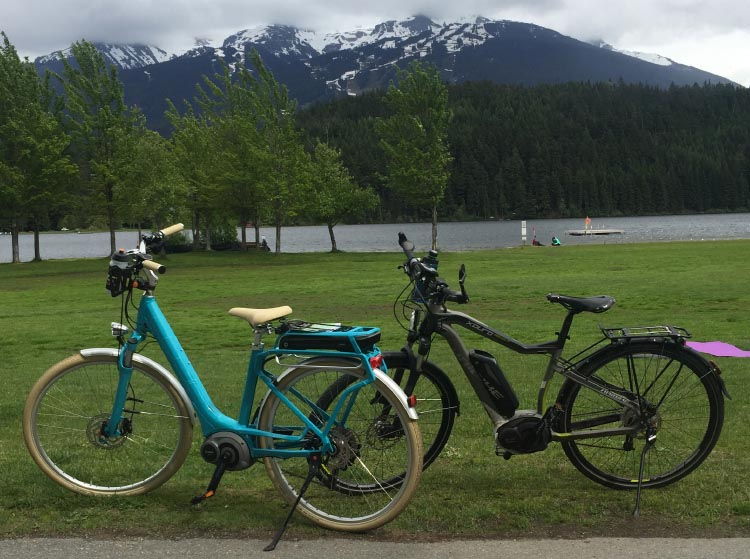 We took our electric bikes to Whistler. My Cube Elly Ride 400 Hybrid Electric Bike has such a long range, I don't think I will ever be ale to run the battery down. Behind my beautiful bike is Joe's Haibike Xduro Trekking Pro, which he thinks is beautiful, and which he reviewed here