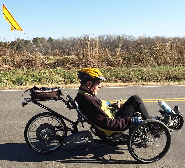 Dr. Len cycles hundreds of miles on his ICE sprint RS trike with a BionX Electric Assist Kit. The trike provides stability and comfort for those with a variety of challenges