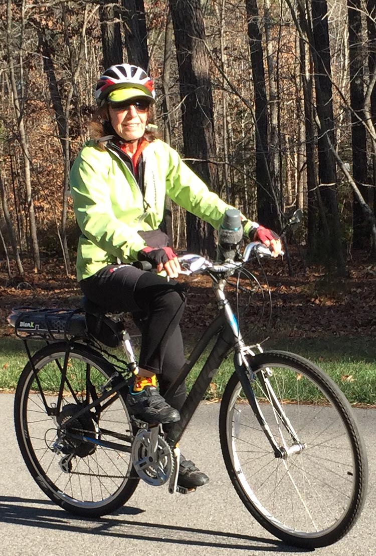 Dr. Len's wife is racking up hundreds of miles on her Specialized hybrid bike with a BionX Electric Assist Kit