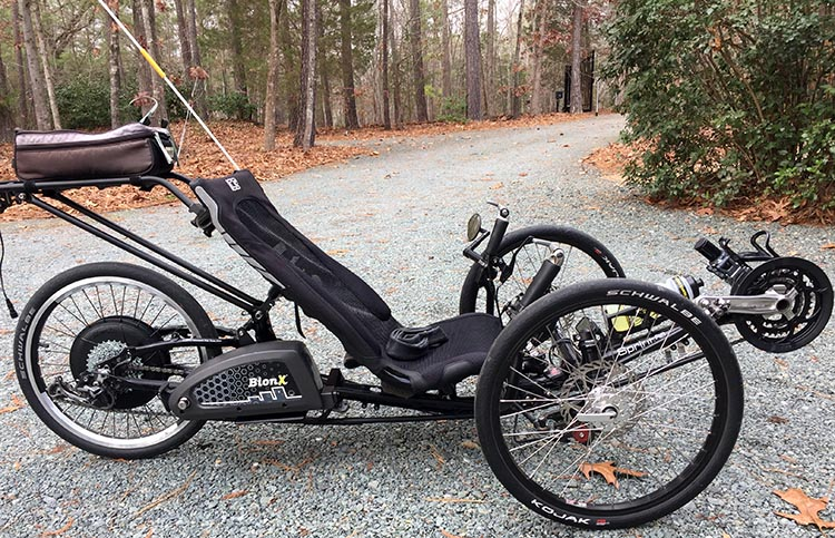 Dr. Len's ICE sprint RS trike with a BionX Electric Assist Kit