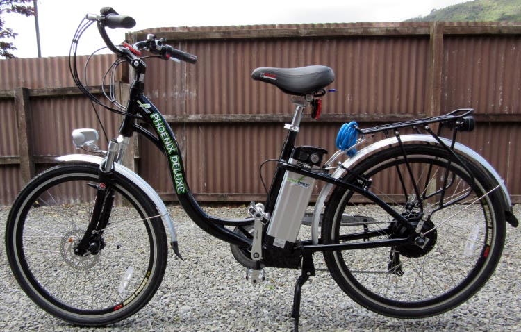 Philip's electric bike is a Phoenix Deluxe with a 300 watt Bafang motor with 3 power levels. It is a step-through, so it does not require too much agility to get on it. Step-throughs work well for seniors returning to cycling after a long break, which was the case with Philip