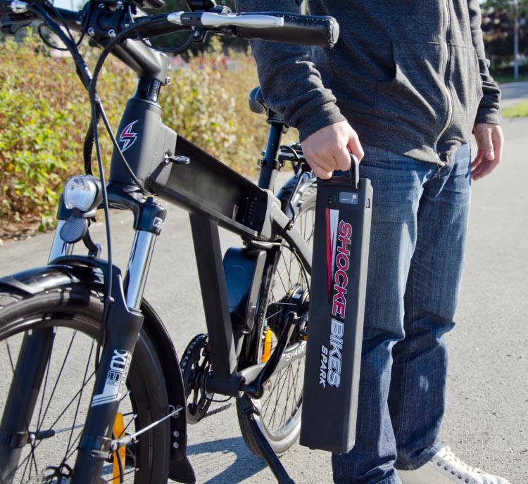 Great lithium ion batteries are the power behind most great electric bike. This is a Spark electric bike - a great e-bike at an affordable price. Read our review of the Spark e-bike here