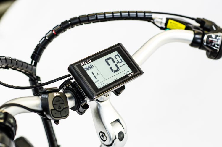 "The Ampere e-bike gives you information with a 3.7"" backlit LCD display control panel. Ampere Electric Bike Review"