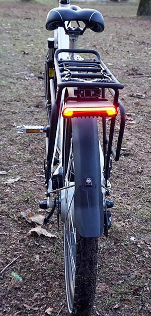 Notice how bright the rear light is, even in broad daylight. Ampere electric bike review