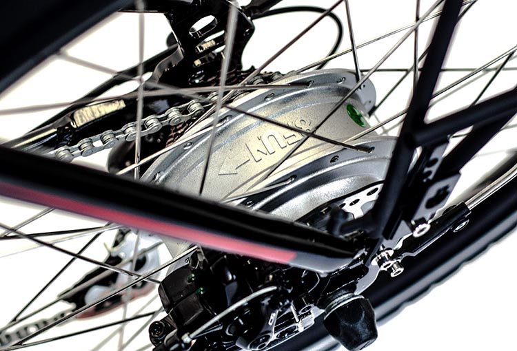 The Ampere e-bike is powered by a 350W BAFANG Hub-Drive Brushless Geared motor. Ampere Electric Bike Review