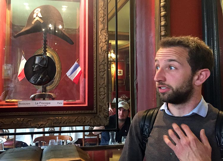 A highlight of our Guided Electric Bike Tour of Paris was visiting Le Procope, the oldest café in Paris. In the entrance to Le Procope there is an interesting hat behind glass. Turns out it belonged to General Napoleon Bonaparte
