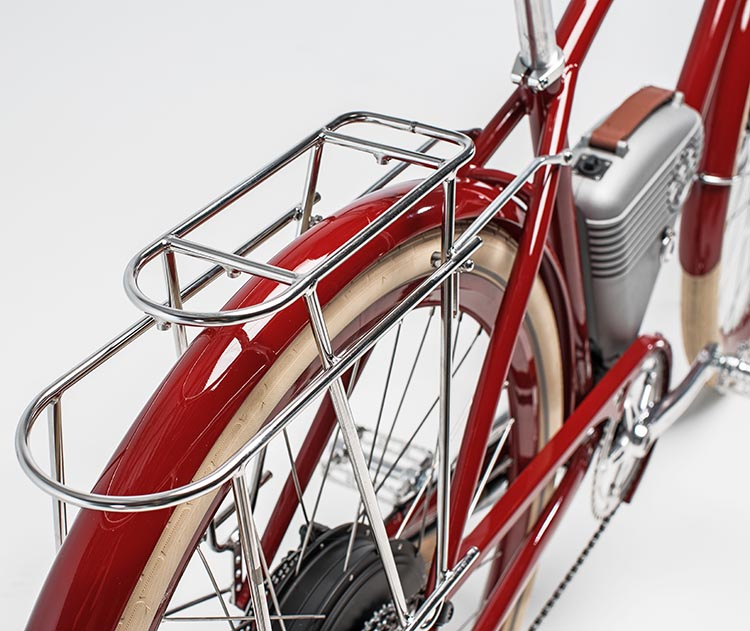 The Café by Vintage Electric Bikes has Schwalbe Fat Frank tires and integrated racks