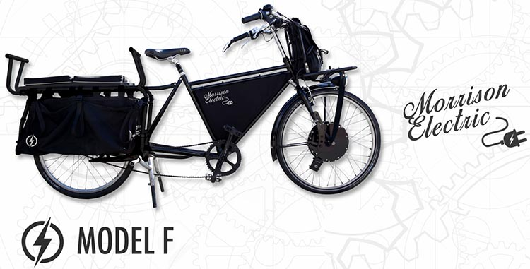 The Model F (front hub) Morrison Electric Cargo Bike is essentially the prototype