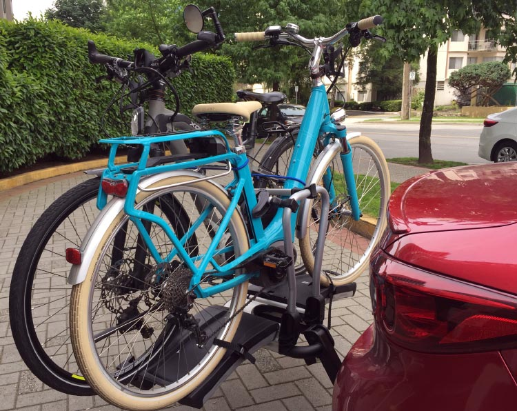 Our two electric bikes are rock solid on our Thule 9032 Easy Fold Electric Bike Rack Review