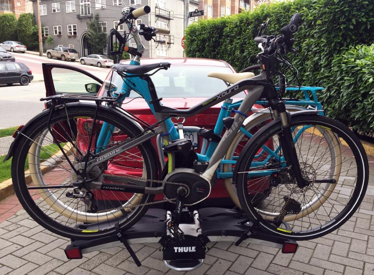 Here are my Cube Elly Ride 400 Hybrid Electric Bike and Joe's Haibike Xduro on our new Thule 9032 electric bike rack
