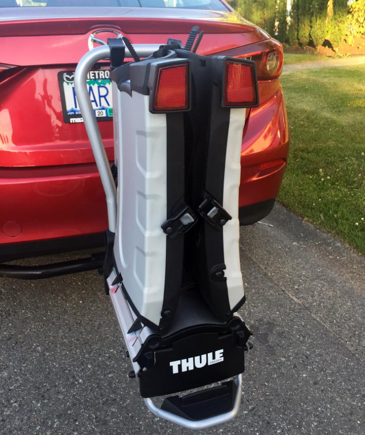 This is the new Thule electric bike rack we bought - a bike rack especially designed to be strong enough for two electric bikes. In this photo, it is of course folded up. We are more than delighted with this rack - review coming soon on Average Joe Cyclist!