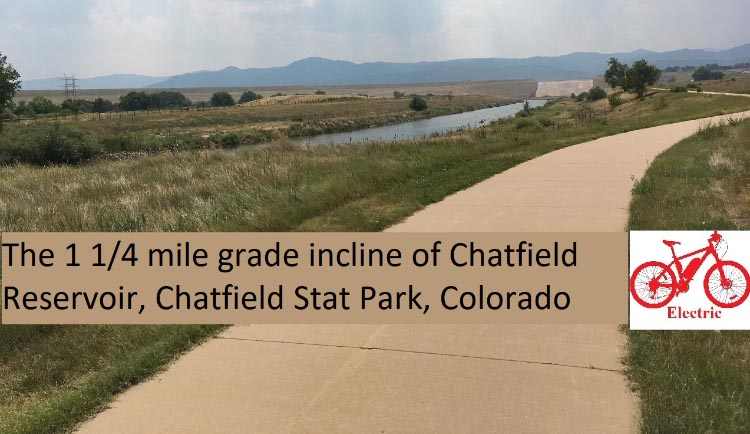 One section of the Centennial Trail descends for a mile and a quarter down the front of Chatfield reservoir.