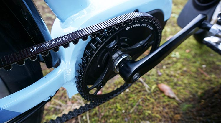 The EVELO Galaxy ST e-bike features a maintenance-free Gates belt drive