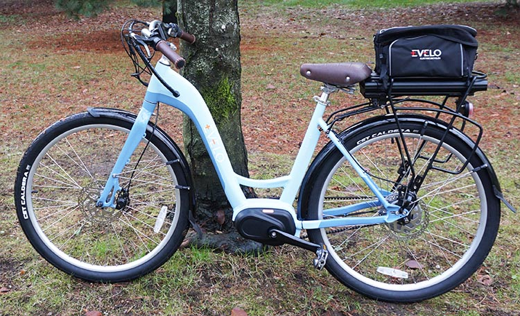 The step-through design and upright position make the EVELO Galaxy ST e-bike easy to mount and ride.