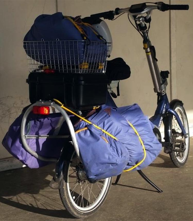 Electric Bike Conversion: Bafang BBS01 motor and Giant Revive. Fully loaded e-bike, shown from rear
