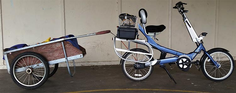 Electric Bike Conversion: Bafang BBS01 motor and Giant Revive. For hauling larger loads (for instance, four Whole Foods shoulder bags fully loaded, instead of two on the cargo racks), I use a lawn cart