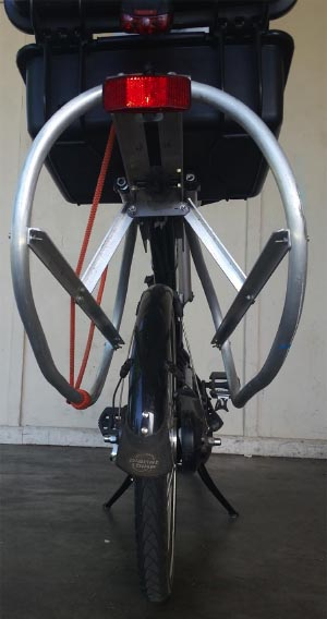 Electric Bike Conversion: Bafang BBS01 motor and Giant Revive. Rear view of the cargo rack