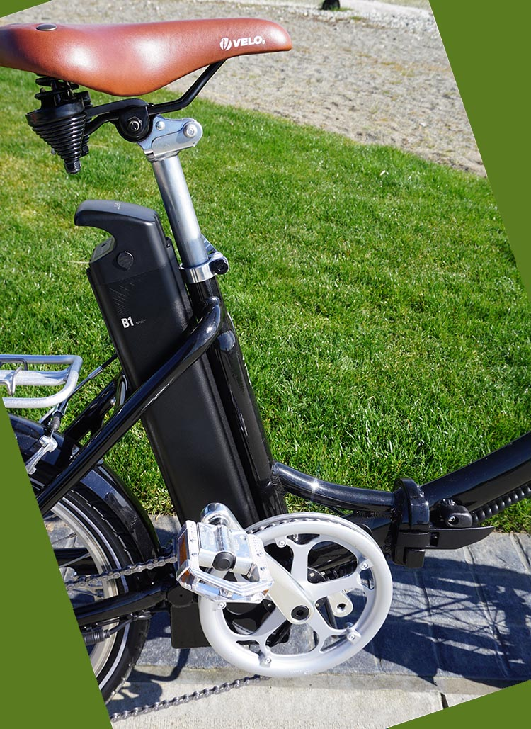 Blix Vika+ Foldable Electric Bike Review. The Panasonic lithium ion battery slides neatly in behind the down tube