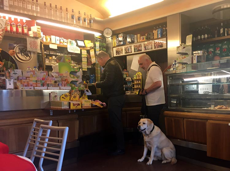 Our Electric Bike tour of Florence: Under the heading of things you never see in nanny states - we were amused to watch a man getting his breakfast with his Labrador in tow!