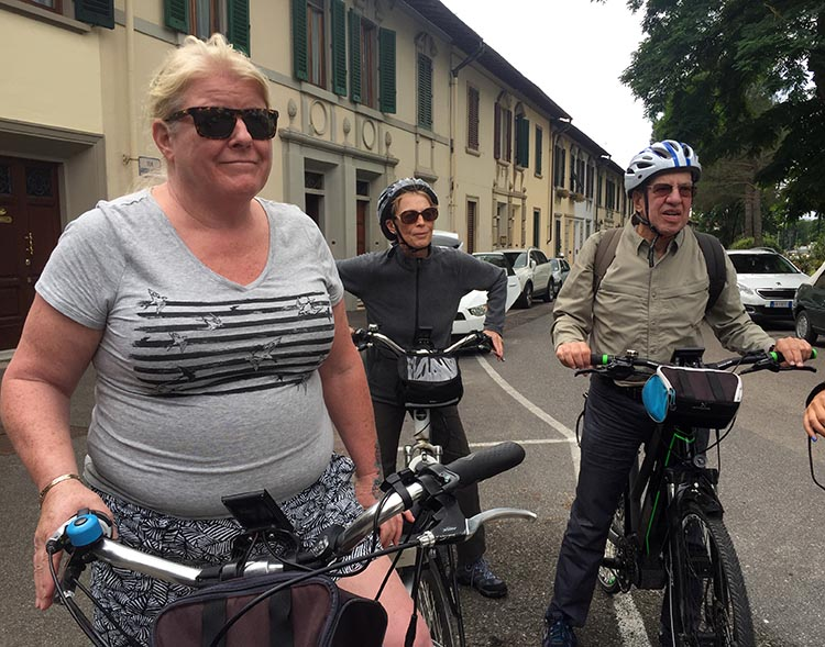 Our Electric Bike tour of Florence: Here's Maggie with our fellow ebike tourists, Sharon Myers and George Levy, from Michigan