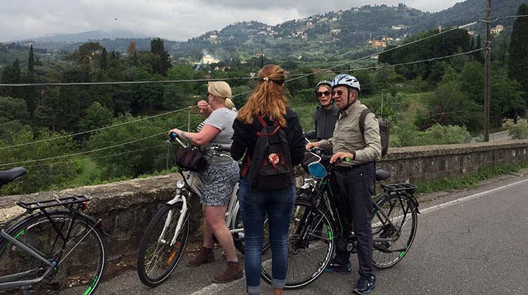 Our Electric Bike tour of Florence: At all of our viewpoint stops, Alessia gave us interesting information about what we were looking at