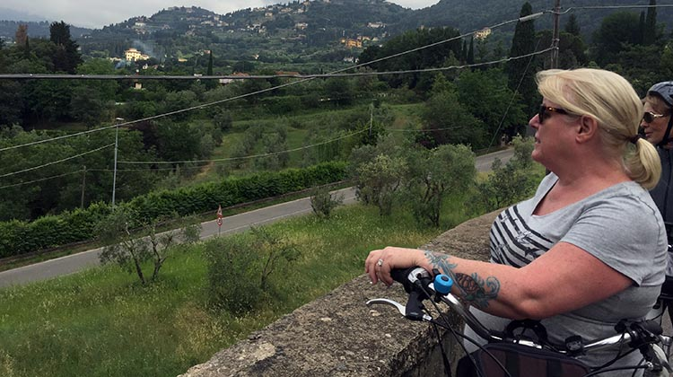 Our Electric Bike tour of Florence: Maggie enjoying the view of the hills around Florence