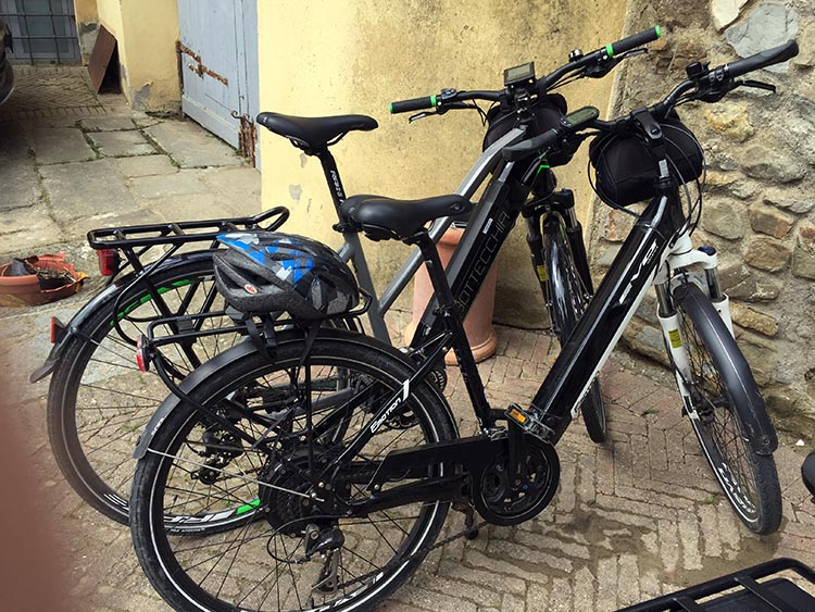 Our Electric Bike tour of Florence: All of the ebikes used were pedelecs - which means that you don't get any power unless you are pedaling! Note the hub driver motor in the rear wheels. The battery is in the down tube