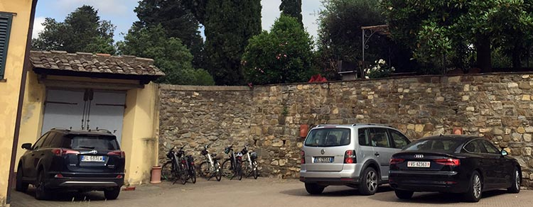 Our Electric Bike tour of Florence: Our bikes in the car park at La Fattoria in Citta