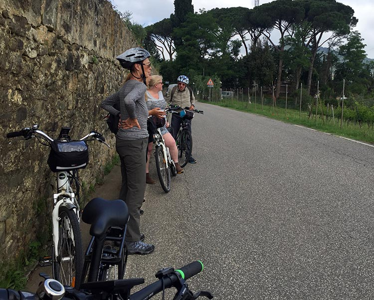 Our Electric Bike tour of Florence: On the way up and down the Fiesole hill above Florence, we stopped a few times to admire the view and take some photos.