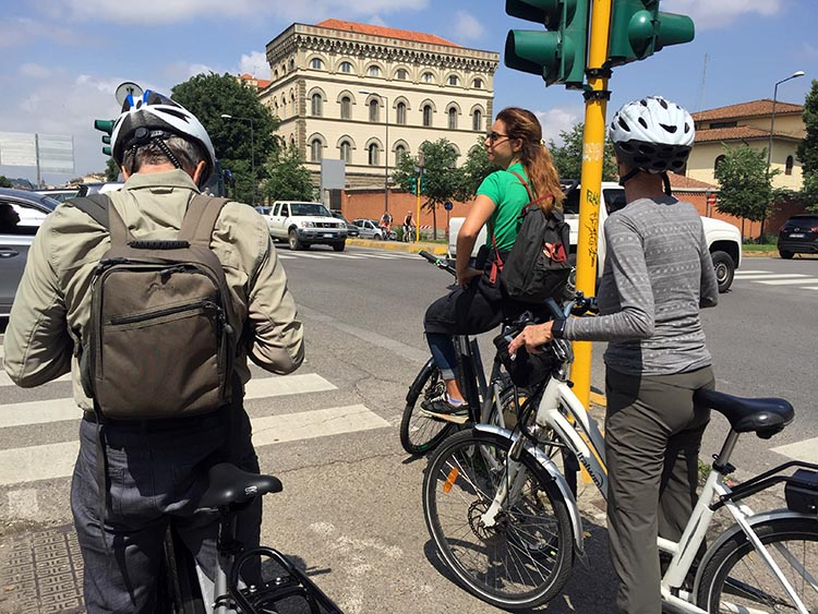 Our Electric Bike tour of Florence: There are even some bike-specific traffic lights in Florence