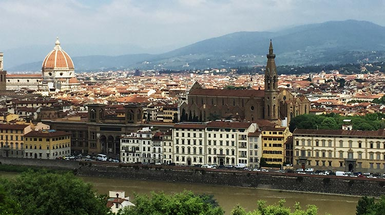 Our Electric Bike tour of Florence: The magnificent view of Florence from the Piazza Michelangelo
