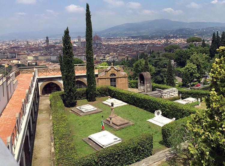 Our Electric Bike tour of Florence: The view from the highest point above Florence, outside the San Miniato al Monte