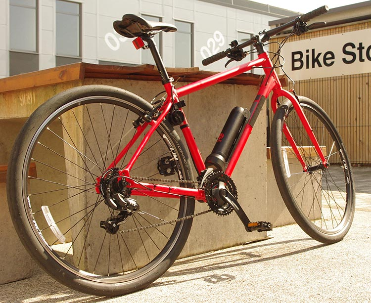 Revos Ebike Conversion Kit - A regular bike with the Revos electric bike system added