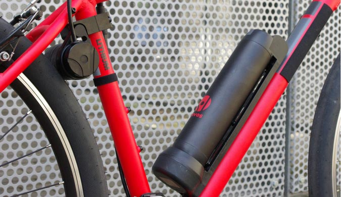 Revos Ebike Conversion Kit - A regular bike with the Revos electric bike system added, showing the battery