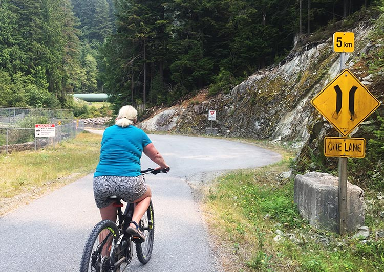 Haibike SDURO HardSeven 1.0 Review. Maggie feels confident on all hills on her new Haibike. This is NOT one of the steep hills we did - on those, I am too busy braking to take photos!