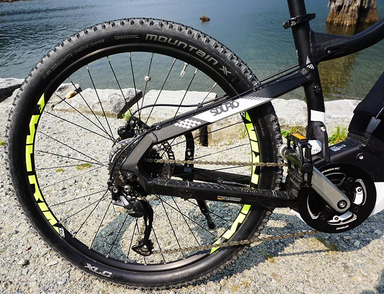 "Haibike SDURO HardSeven 1.0 Review. The chunky 27.5"" tires soften the ride, and the Tektro hydraulic disc brakes offer enough precise stopping power to inspire confidence on the steepest of hills"