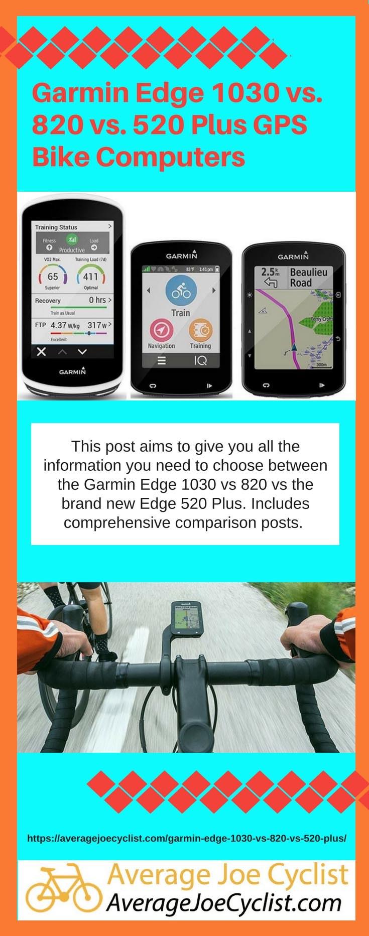 Garmin Edge 1030 vs 820 vs 520 Plus GPS Bike Computers