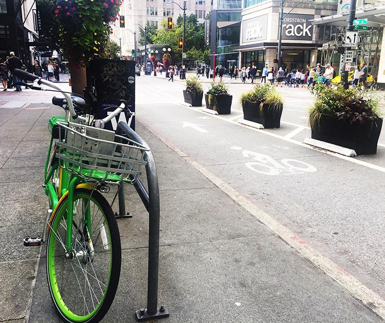 Here's a Lime ebike in downtown Seattle