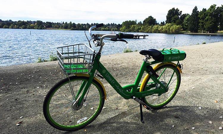 Here's a Lime ebike at Green Lake, Seattle