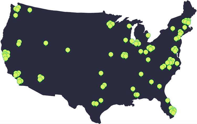 The location of Lime bike share programs across the USA