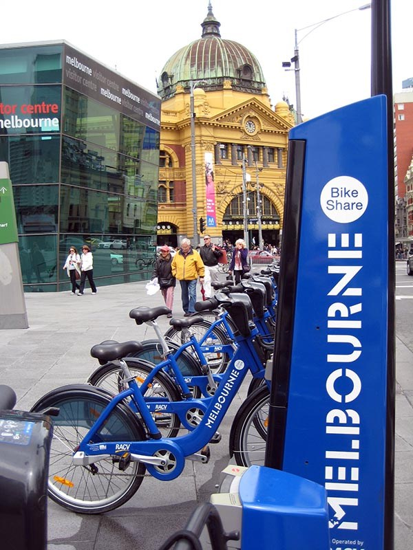 Shared bikes in Melbourne, parked at a docking station near Flinders Station and the Melbourne Visitor Centre