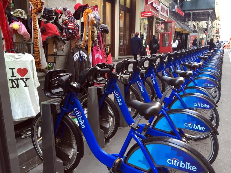 Citi Bikes at a docking station in New York City