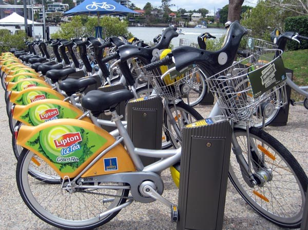 CityCycles at a docking station in Brisbane, conveniently near a ferry stop on the Brisbane River